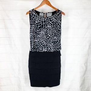 Enfocus Dress Size 10 Black White Blouson Bandage